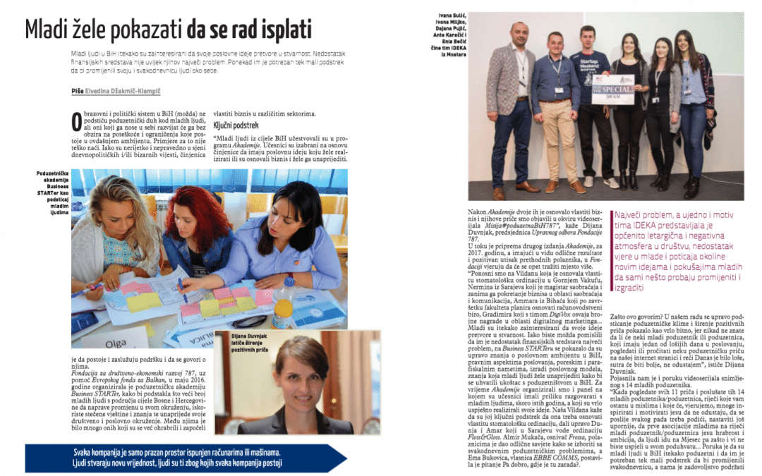 Business Magazine BiH about Foundation 787 and young entrepreneurs