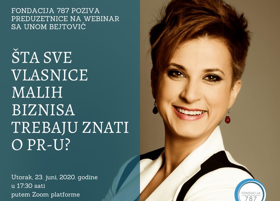 """Učestvujte na webinaru sa Unom Bejtović: """"Šta sve vlasnice malih biznisa trebaju znati o PR-u?"""""""